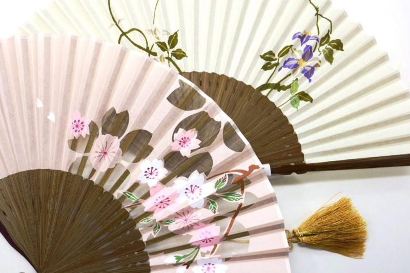 扇子 絹張羽二重 京扇子 婦人用 桜