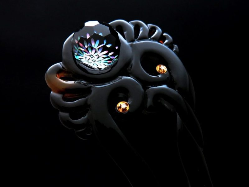 べっ甲水晶菊螺鈿ダイヤ使いかんざし べっ甲かんざし 簪 水晶