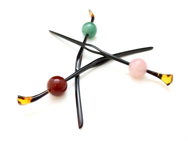 べっ甲カービング(curving)玉かんざし2019・3種|赤瑪瑙、紅水晶、砂金水晶
