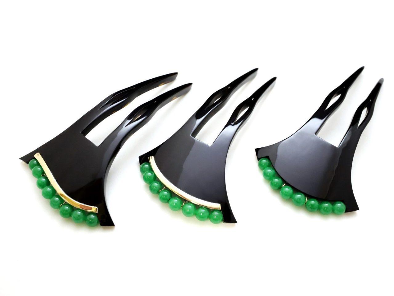 黒べっ甲翡翠かんざし2021|大変希少な翡翠を贅沢に使用した夏におすすめなかんざし。