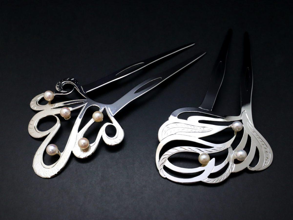 礼装用アコヤパール付き銀かんざし2021-1・2種|結婚式や披露宴、パーティー、各種式典などにお勧め|シルバー925使用