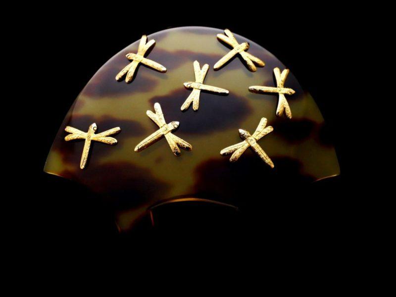 上茨布べっ甲18K蜻蛉装飾付きかんざし2020