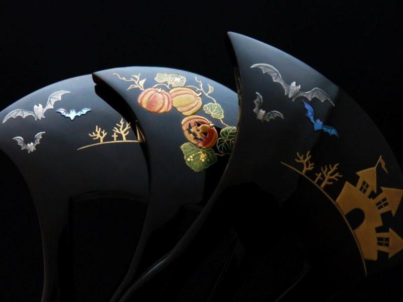 ハロウィン仕様のべっ甲螺鈿金蒔絵かんざし3種《再》|コウモリ(蝙蝠/幸守?)と古城とジャックオーランタン。