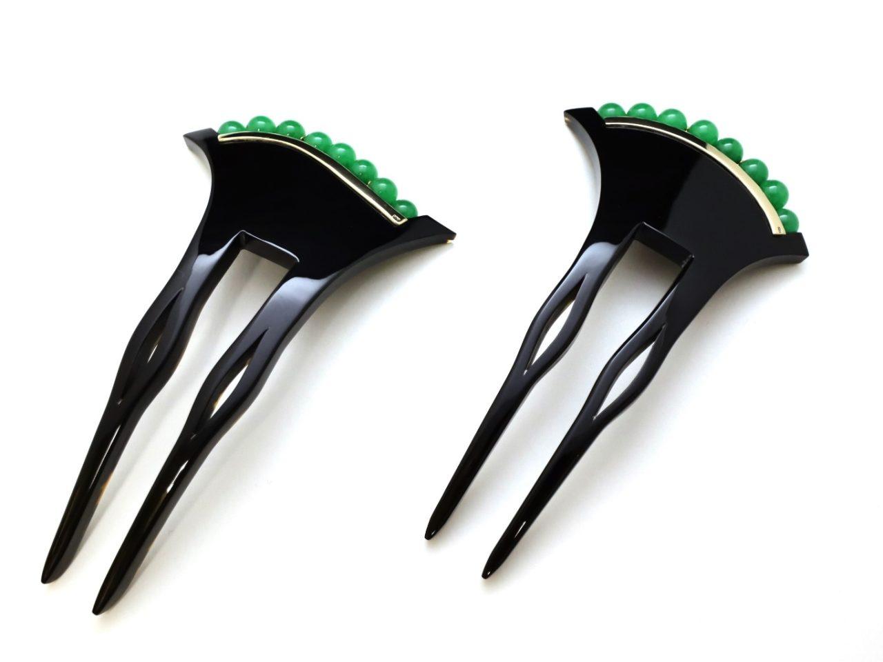 黒べっ甲翡翠18Kかんざし2020・2種|大変希少な翡翠を贅沢に使用した夏におすすめなかんざし。