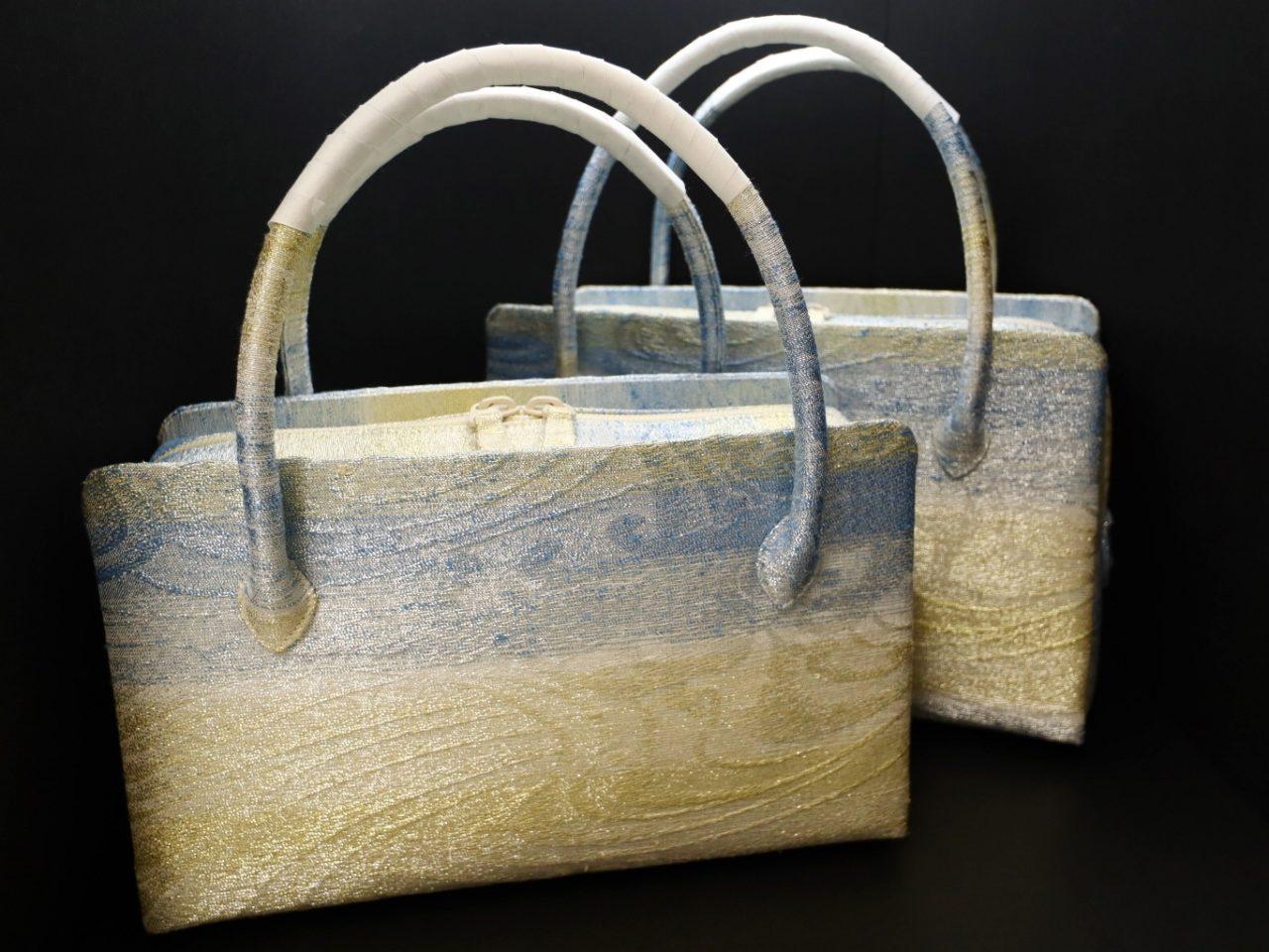 きれいな色合いの利休バッグ2020|銀撚箔波流水文様・八寸、九寸