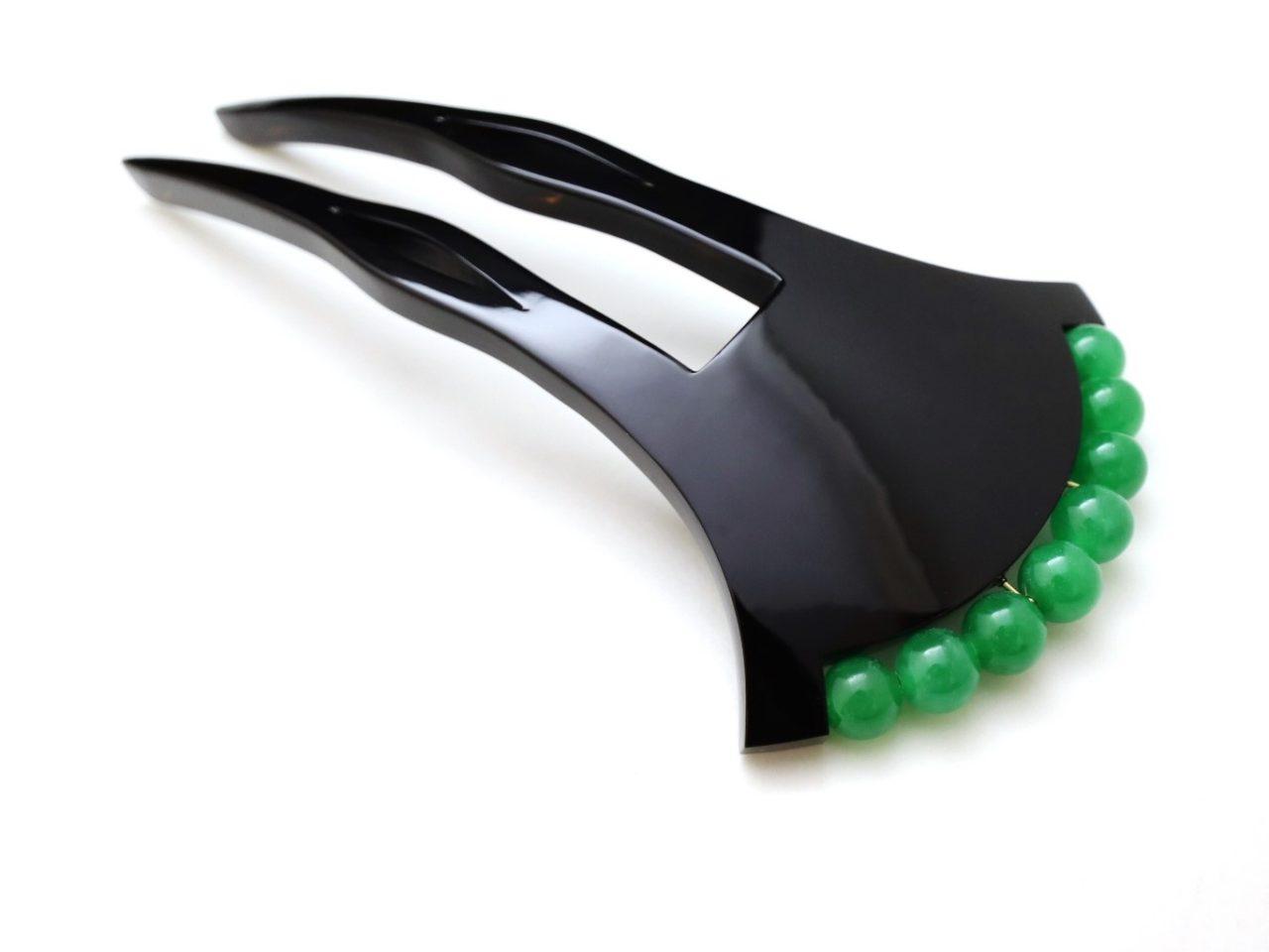 黒べっ甲翡翠かんざし2021 大変希少な翡翠を贅沢に使用した夏におすすめなかんざし。
