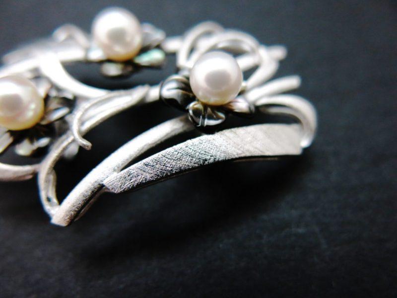 銀製アコヤパール付き帯留(SV925)