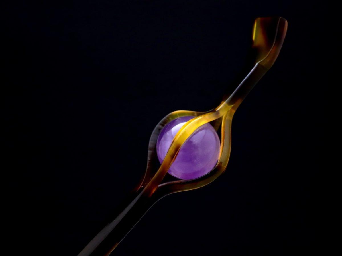 べっ甲篭型玉かんざし2021・2種 アメジスト、琥珀、普段使いのちょっと贅沢で粋なかんざし