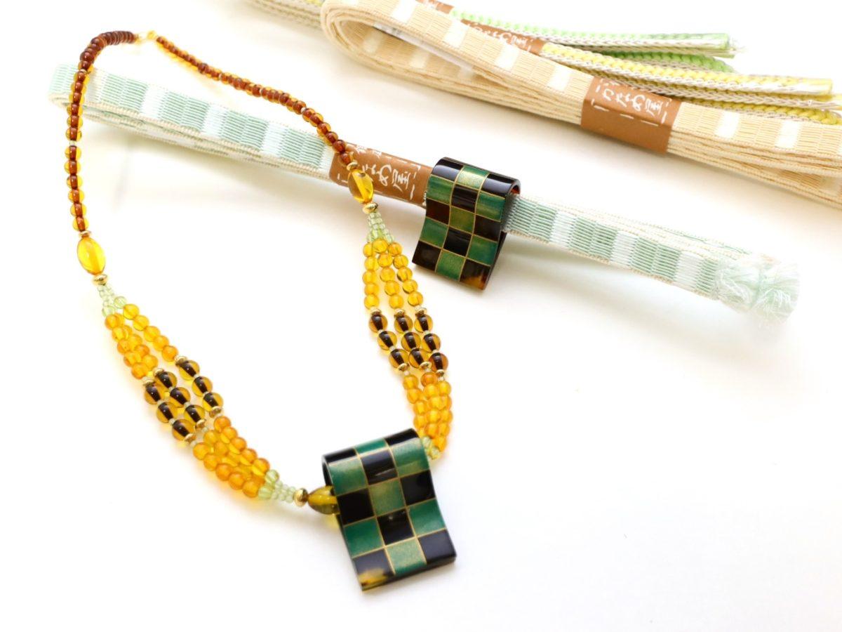 べっ甲市松文様金蒔絵帯留兼ペンダントヘッド|和装にも洋装にも、2WAY仕様の優れもの。