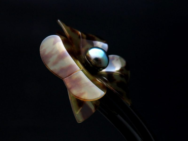 べっ甲かんざし 簪 茨布べっ甲南洋真珠立体花かんざし