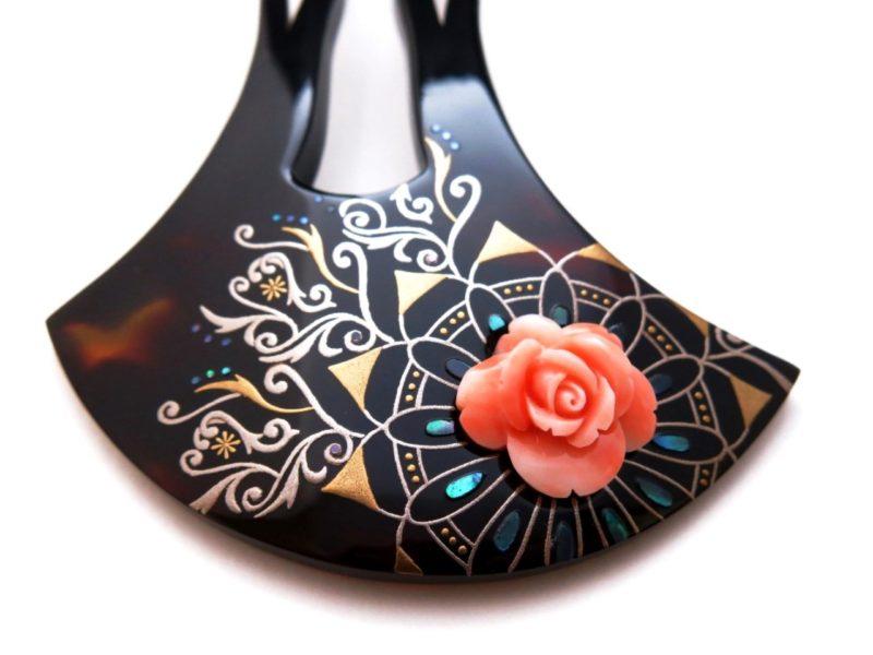 べっ甲珊瑚薔薇彫り螺鈿金蒔絵かんざし 薔薇 珊瑚 蒔絵 螺鈿 べっ甲かんざし