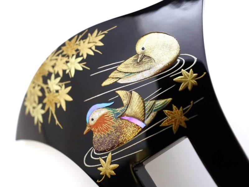 礼装用のべっ甲鴛鴦(オシドリ)螺鈿金蒔絵かんざし2020