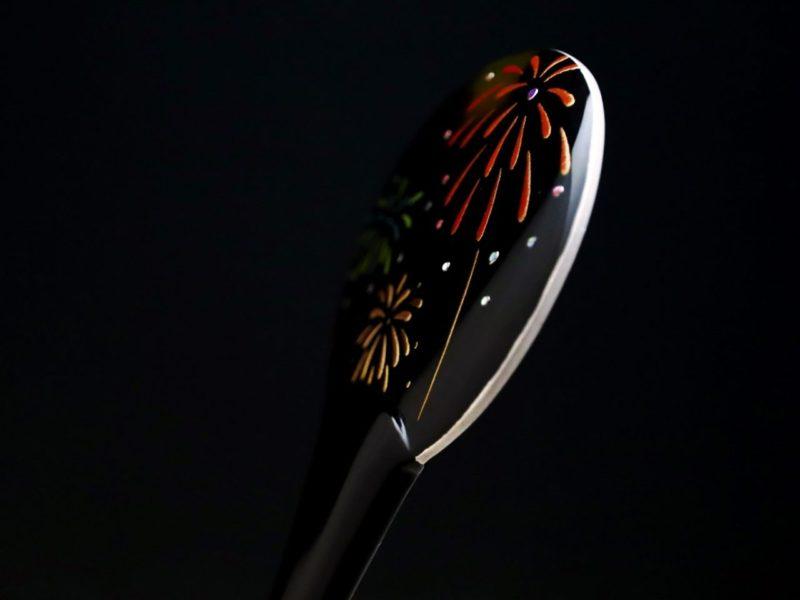 夏キモノにおすすめ、涼しげなべっ甲花火螺鈿金蒔絵団扇かんざし2020