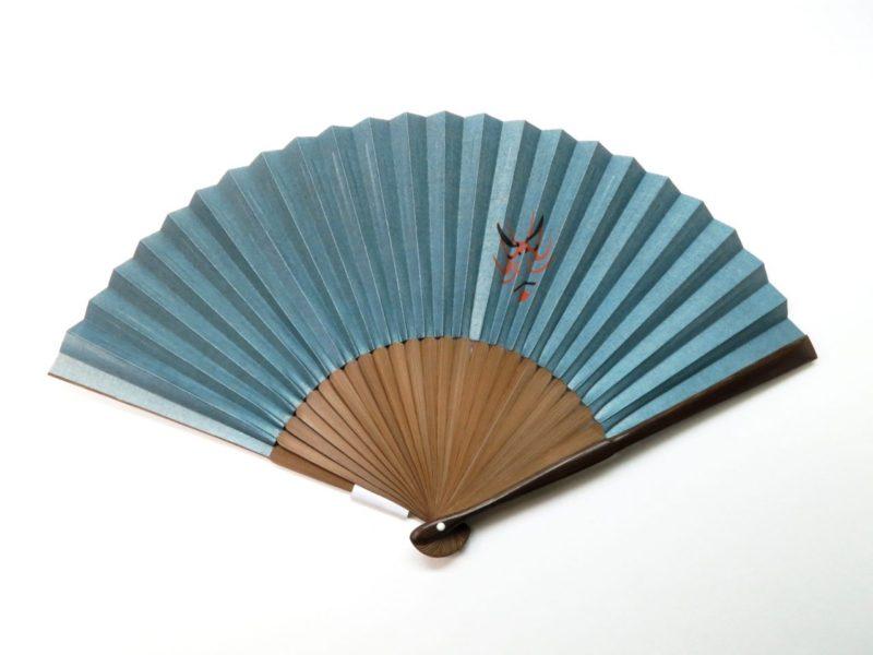紳士用扇子 手描き絹張扇子 歌舞伎