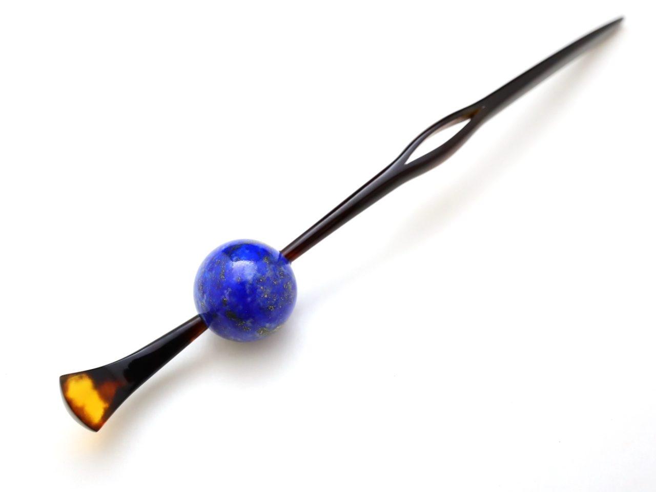 べっ甲カービング玉かんざし2021・2種|ラピスラズリ、邪気を払い、パワーとヒーリング力を高め、幸運を招く玉かんざし。