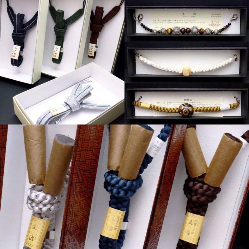 紳士用正絹羽織紐2020各種と結び方|江戸組紐(中村正謹製)平組、丸組、飾付き無双