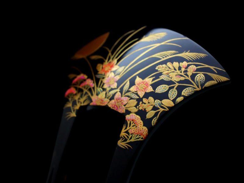 べっ甲中秋の名月秋草花螺鈿金蒔絵かんざし