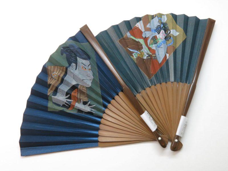 紳士用扇子 手描き絹張扇子 歌舞伎 写楽