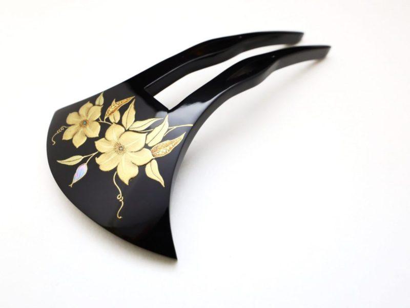 べっ甲クレマチス(鉄線)のべっ甲螺鈿金蒔絵かんざし2020