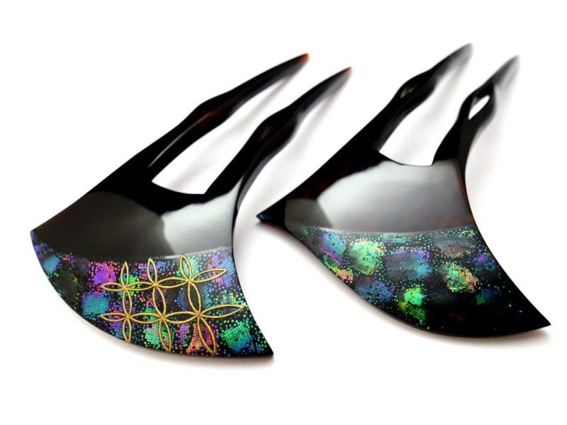 七色に輝く螺鈿が美しいべっ甲かんざし2020