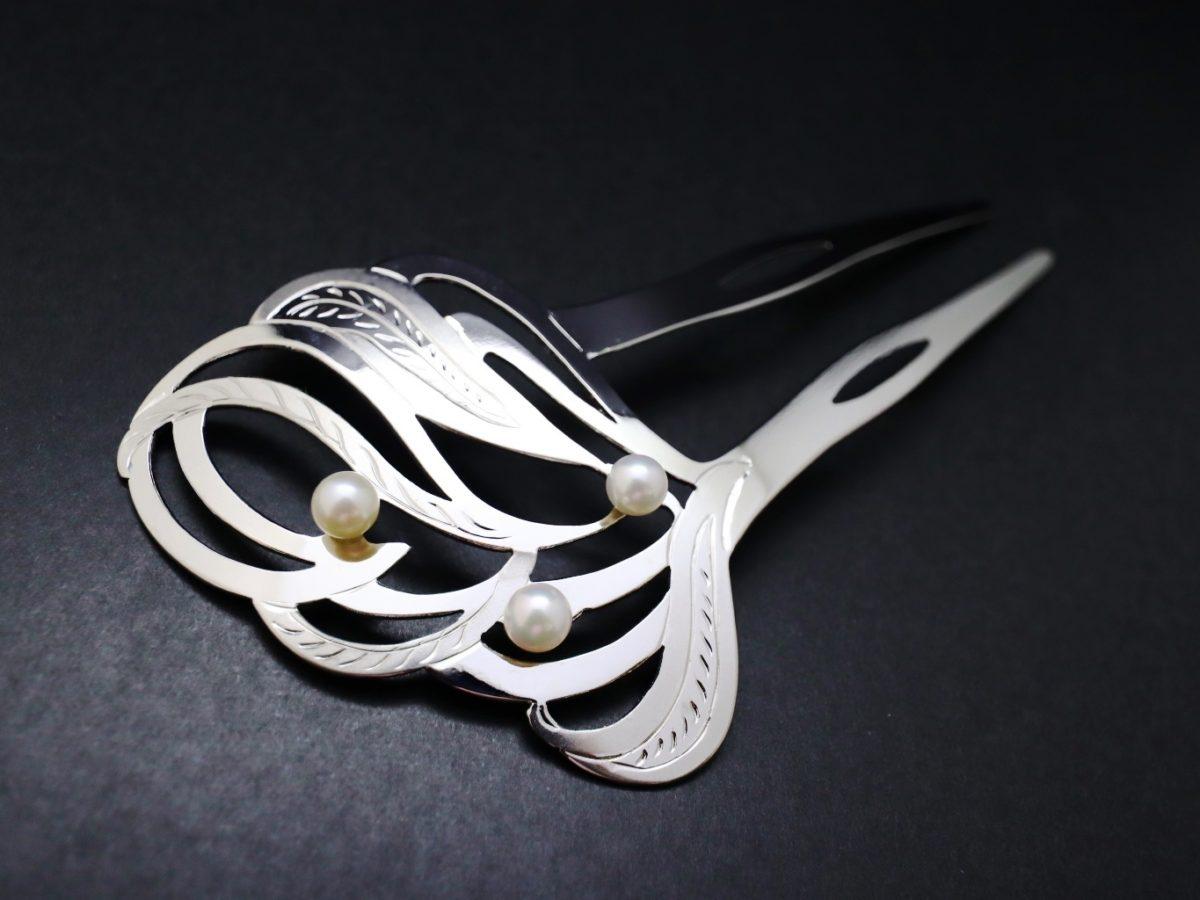 礼装用アコヤパール付き銀かんざし2021-1・2種 結婚式や披露宴、パーティー、各種式典などにお勧め シルバー925使用