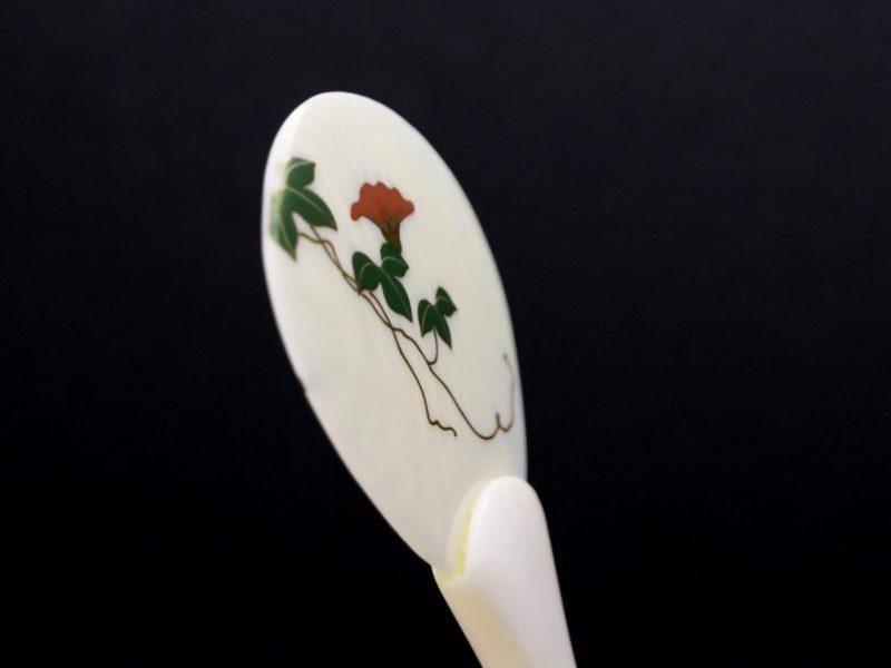 涼し気で粋な象牙製団扇かんざし2020・朝顔2種